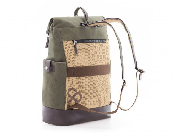 Backpack with flap in canvas and leather in green back