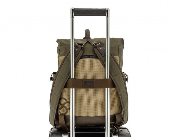 Backpack with flap in canvas and leather in green trolley