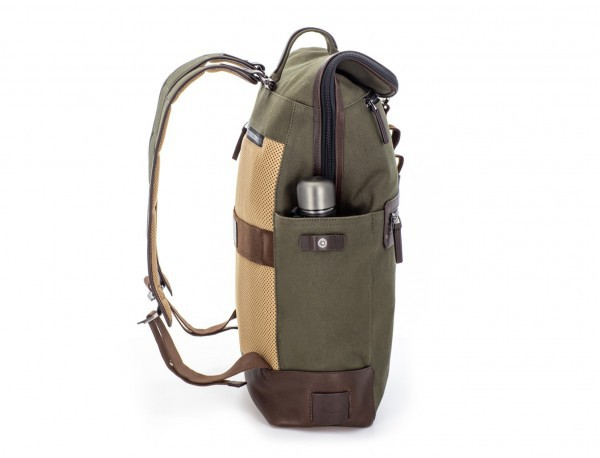 Backpack with flap in canvas and leather in green bottle pocket
