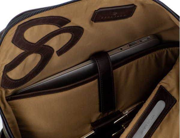 Backpack with flap in canvas and leather in green laptop compartment