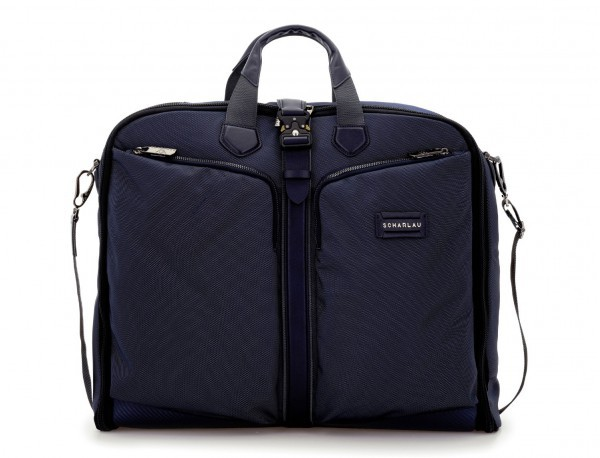 Travel suit bag in blue front