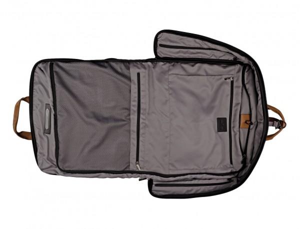 portatrajes para viajar de color antracita negro abierto