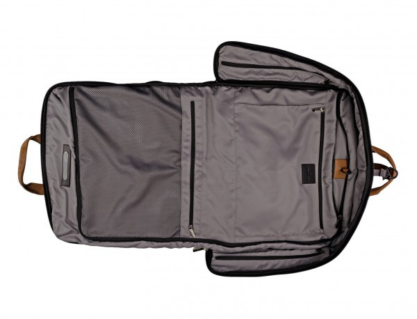 Travel suit bag in anthracite black open