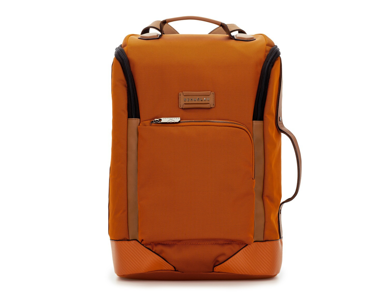 travel backpack tube in orange front
