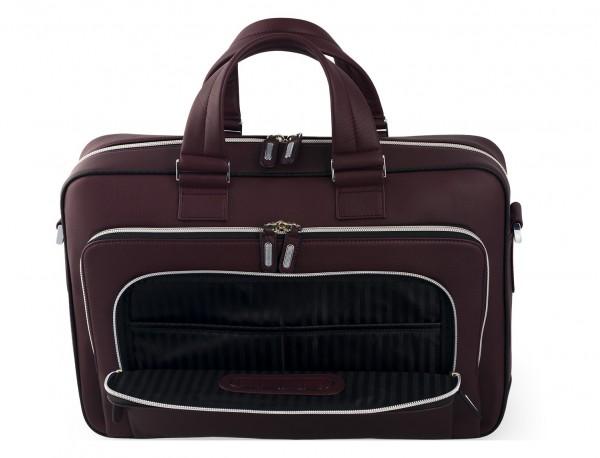 leather business bag in burgundy  pocket detail
