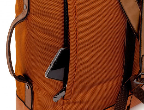travel backpack tube in orange detail phone compartment