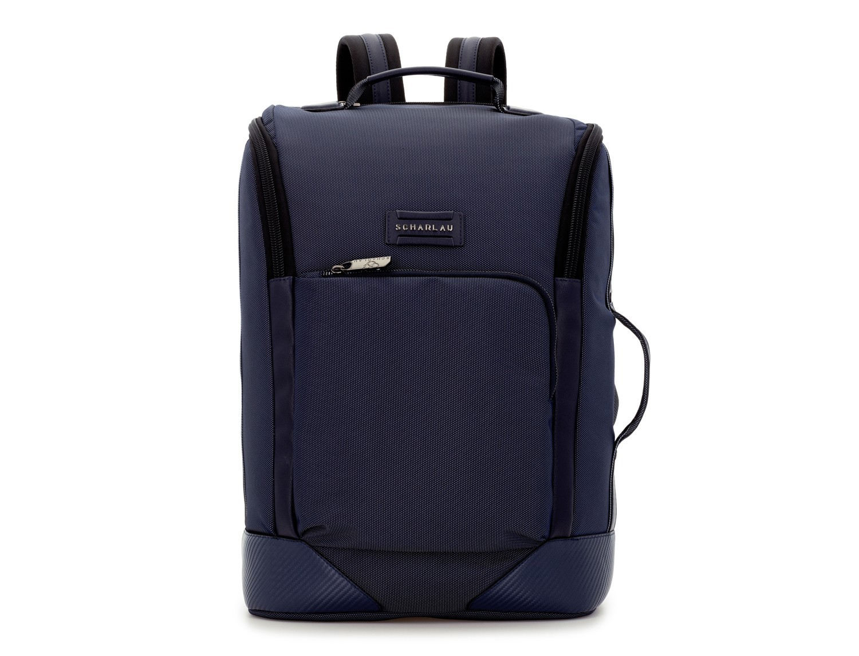 mochila de viaje color azul frontal