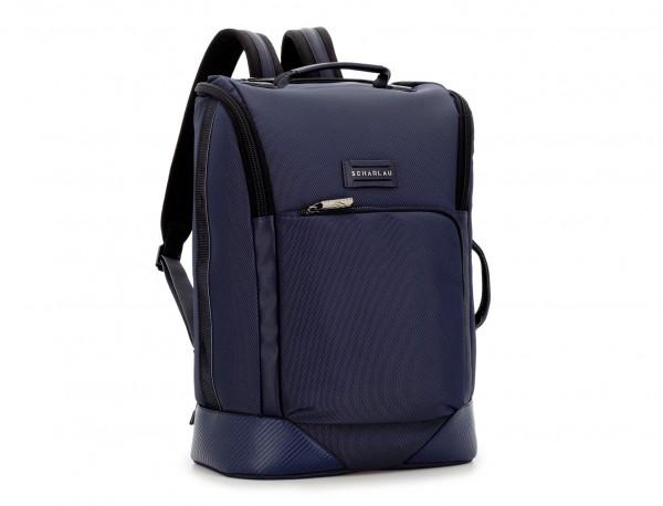 mochila de viaje color azul lateral