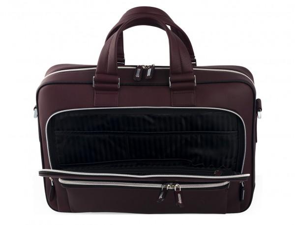 leather business bag in burgundy  pockets