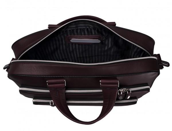 maletin ejecutivo de cuero en color burdeos placa personalizada