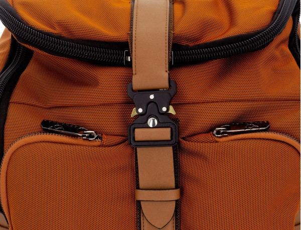 Travel backpack with flap in orange detail leather