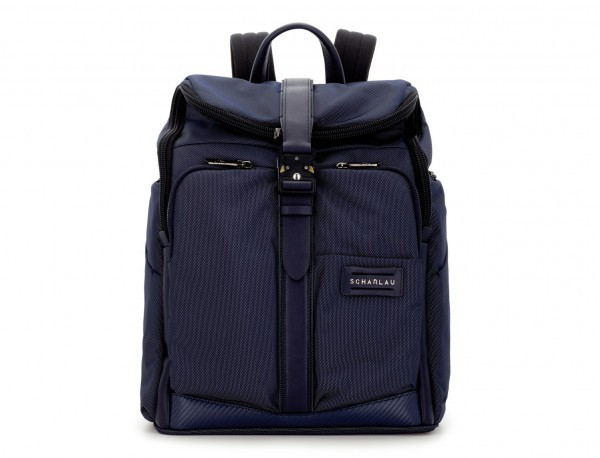 Travel backpack with flap in blue front