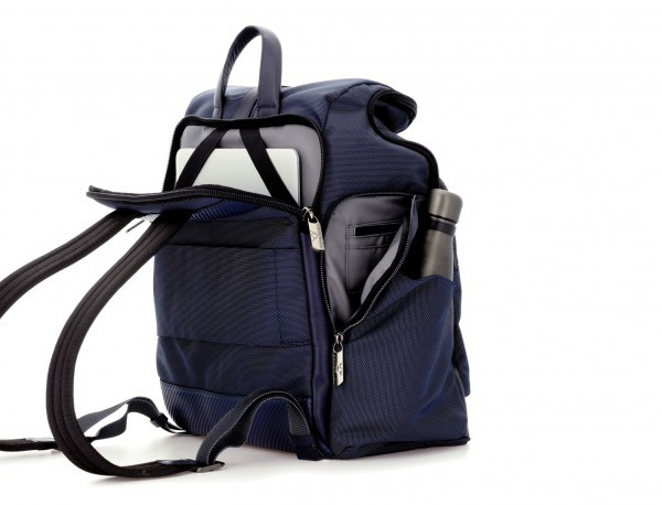 Travel backpack with flap in blue back