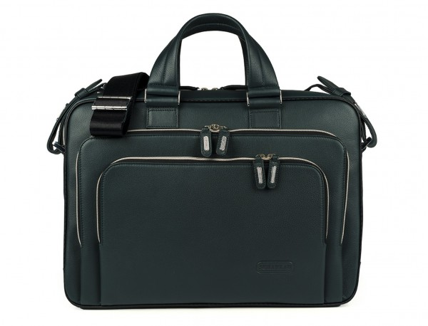 leather business bag in green front