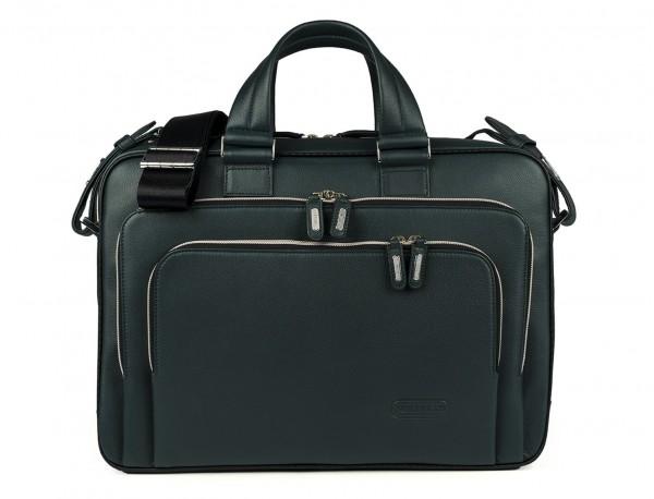 maletin ejecutivo de cuero en color verde frontal
