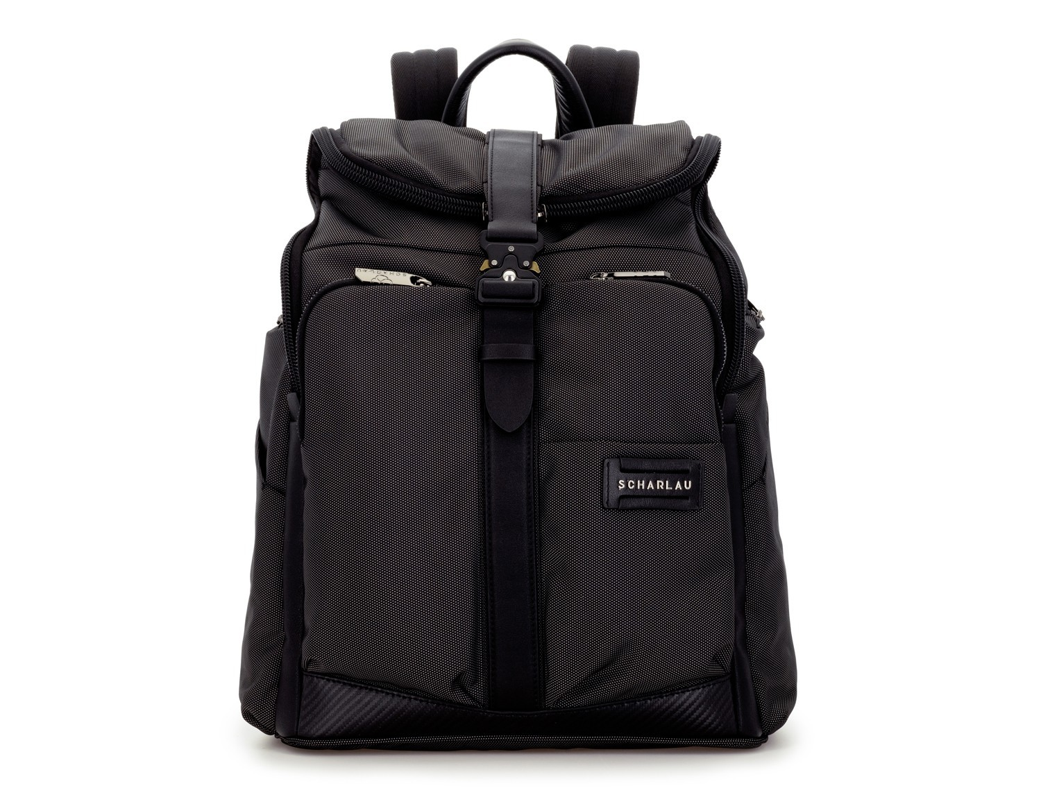 Travel backpack with flap in anthracite black front