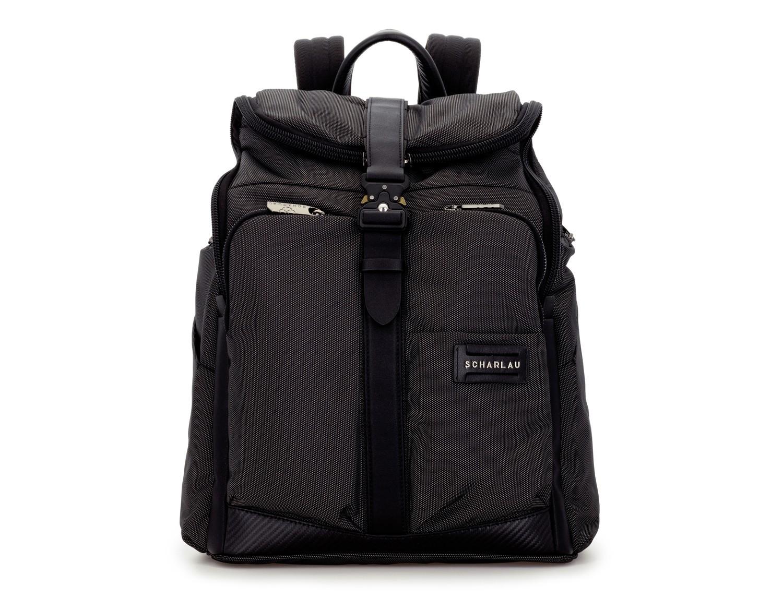 mochila de nylon y cuero en color antracita negro frontal