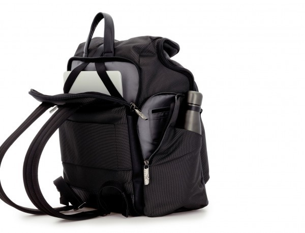 Travel backpack with flap in anthracite black side