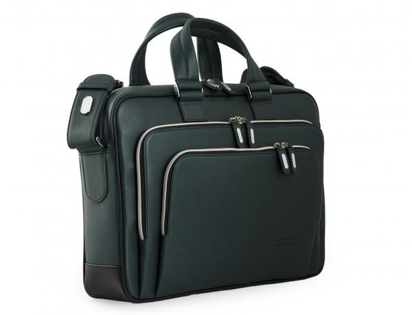 maletin ejecutivo de cuero en color verde lateral
