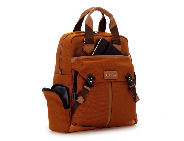 Tote Backpack in nylon and leather side