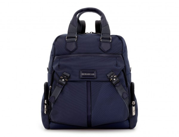 Tote Backpack in nylon and leather in blue front