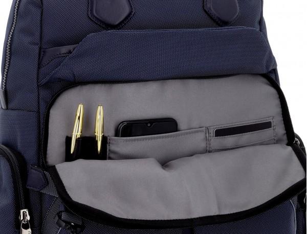 Bolso mochila de nylon en azul interior