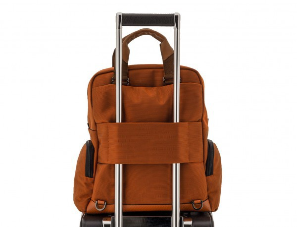 Tote Backpack in nylon and leather in blue trolley
