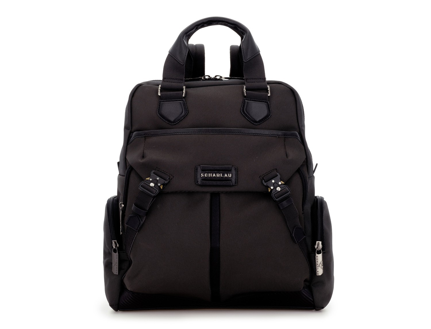 Tote Backpack in nylon and leather in anthracite and black front