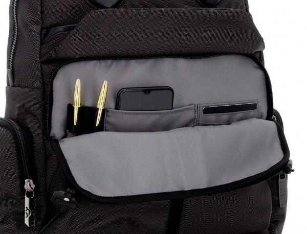 Tote Backpack in nylon and leather in anthracite and black inside