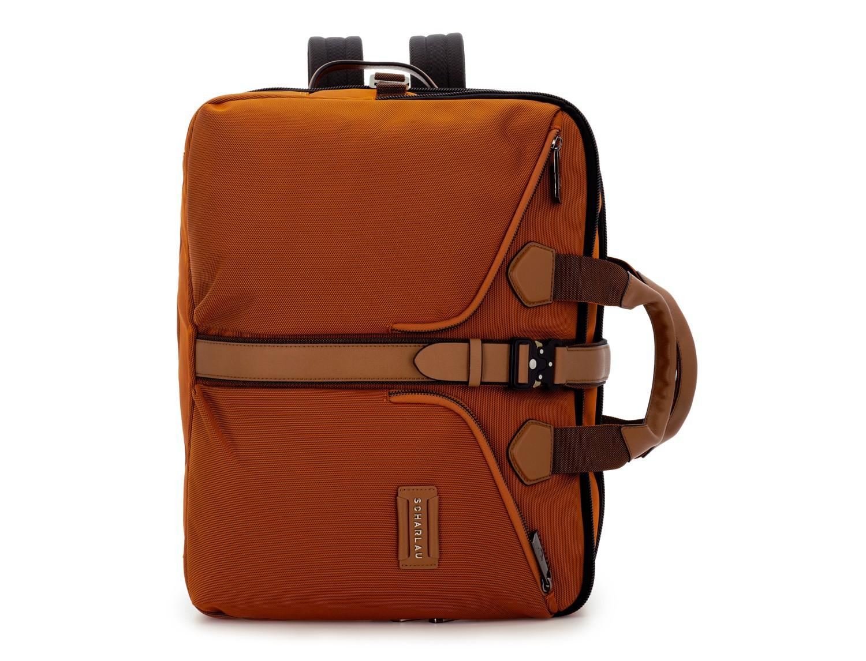 Travel bag backpack in orange front