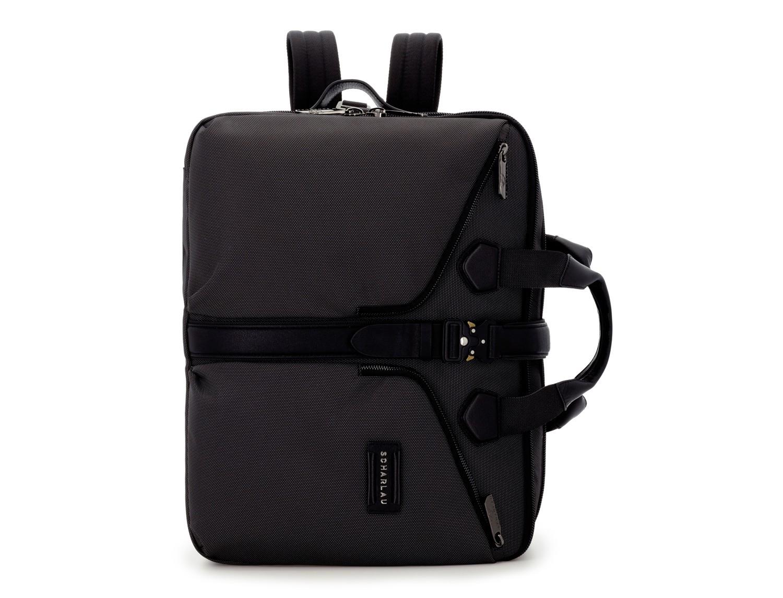 Travel bag backpack in anthracite black front