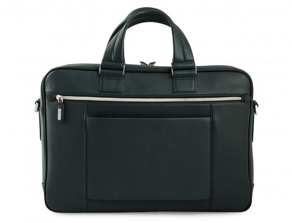 maletin ejecutivo de cuero en color verde detrás