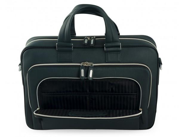 maletin ejecutivo de cuero en color verde bolsillos