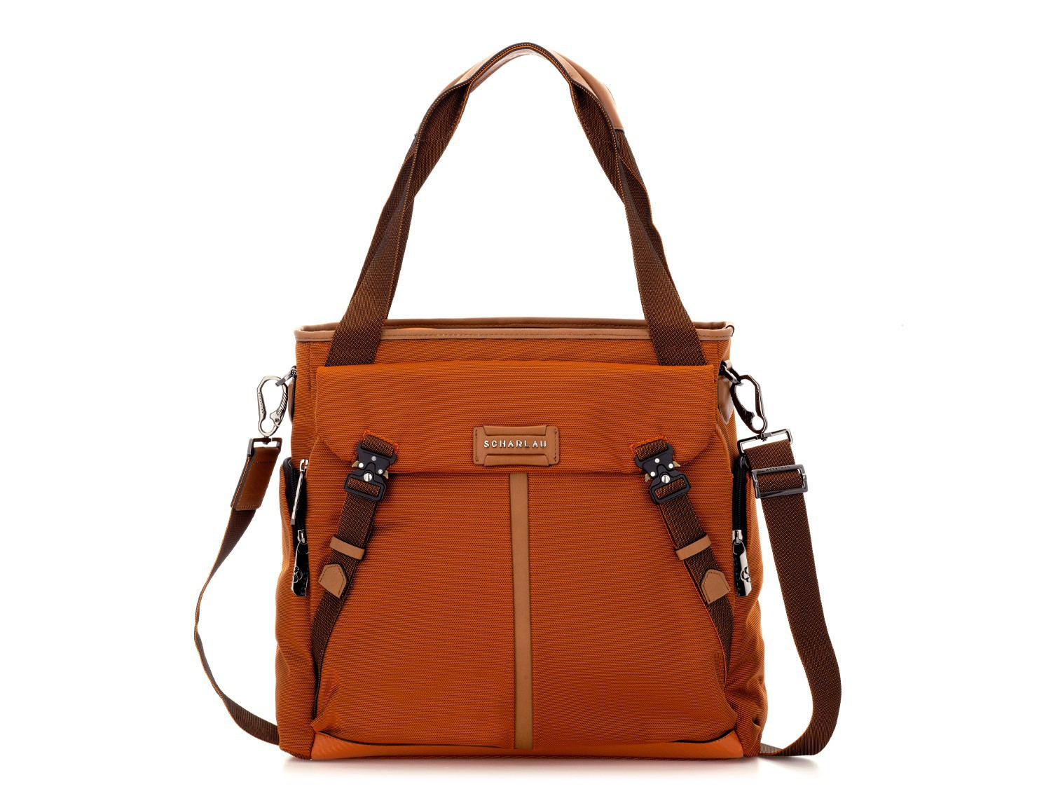 Laptop tote bag for woman in orange front