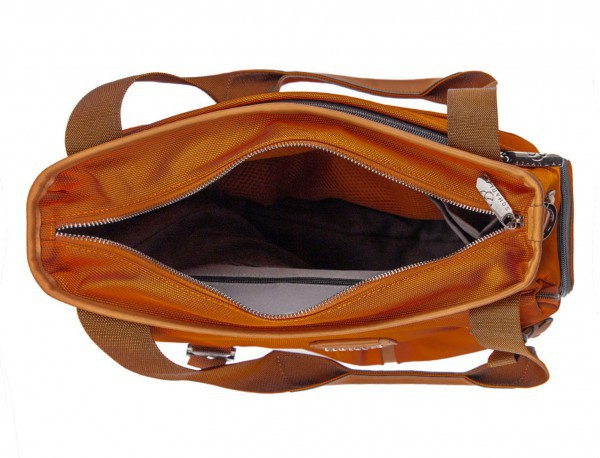 Laptop tote bag for woman in orange open