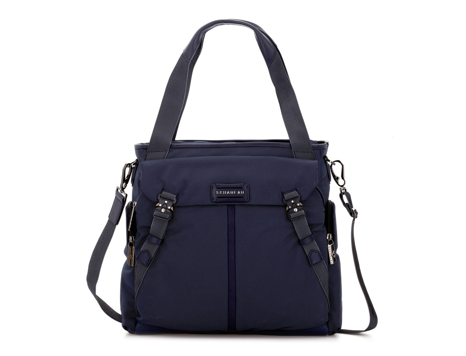 Laptop tote bag for woman in blue front