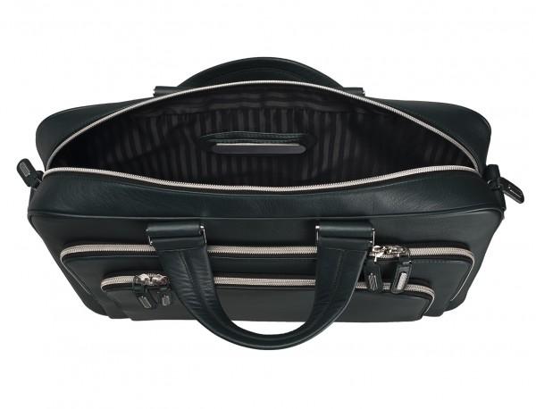 maletin ejecutivo de cuero en color verde placa personalizada