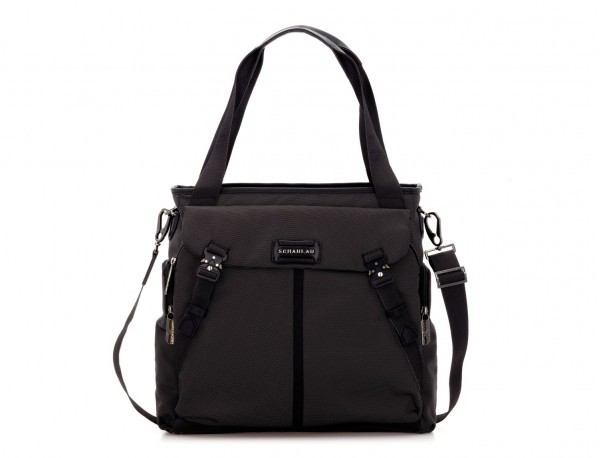 Laptop tote bag for woman in black front