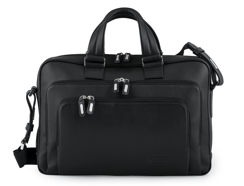 maletin ejecutivo de cuero en color todo negro frontal