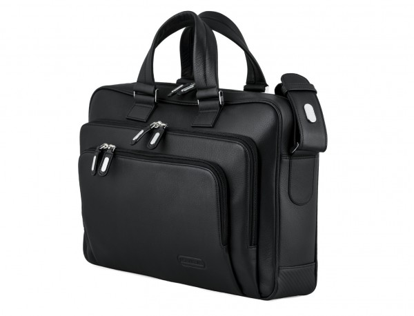 maletin ejecutivo de cuero en color todo negro lateral