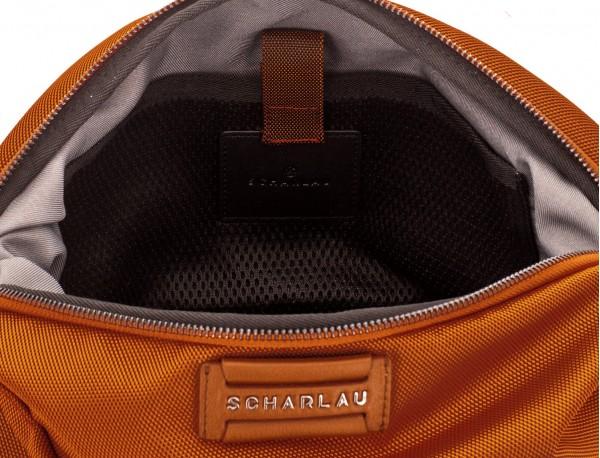 Toilet bag in orange leather detail