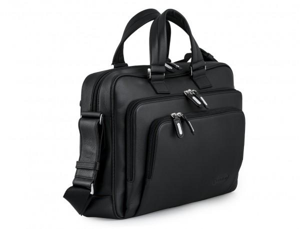 maletin ejecutivo de cuero en color todo negro lado