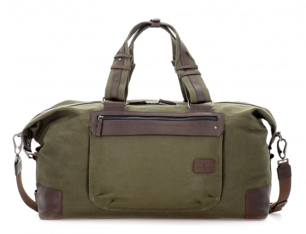 Duffle travel bag in canvas and leather in green front