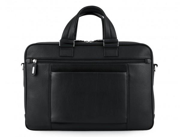maletin ejecutivo de cuero en color todo negro detrás