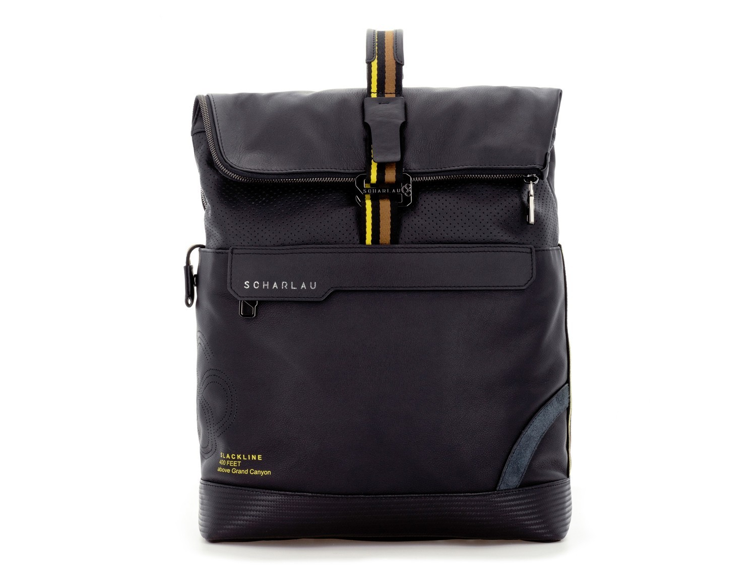 leather laptop backpack in black front