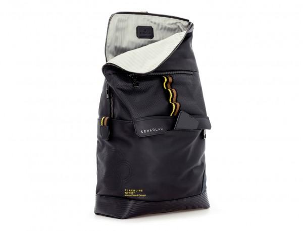 leather laptop backpack in black side
