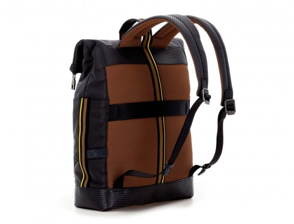 leather laptop backpack in black back