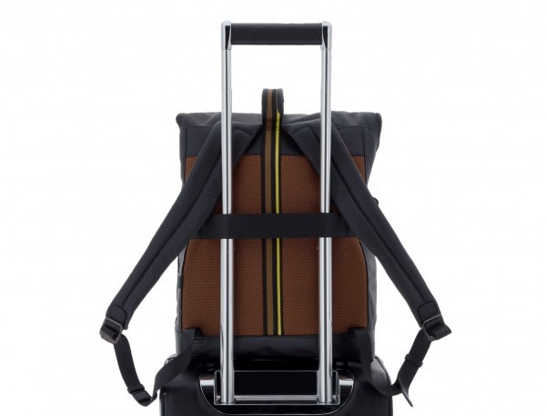leather laptop backpack in black trolley