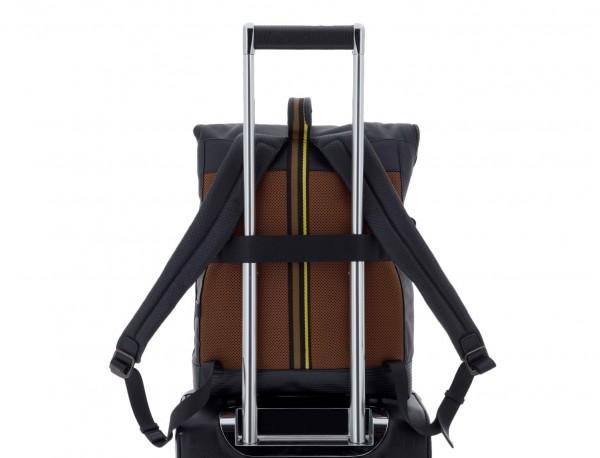 mochila de piel negra para portátil trolley