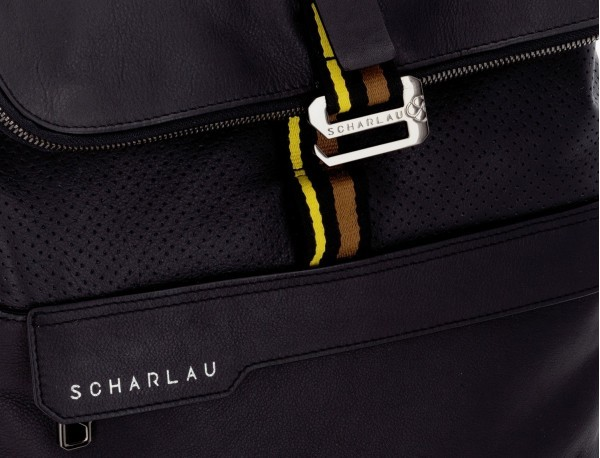 leather laptop backpack in black detail